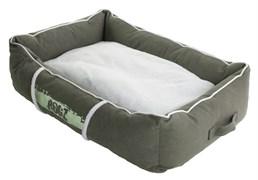 Rogz - Лежак с бортиком и двусторонней подушкой, оливковый/кремовый, средний (72x45x25 см) LOUNGE POD MEDIUM