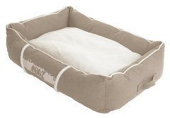 Rogz - Лежак с бортиком и двусторонней подушкой, бежевый/кремовый, большой (88x55x26 см) LOUNGE POD LARGE