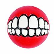 Rogz - Мяч с принтом зубы и отверстием для лакомств, большой (красный) GRINZ BALL LARGE