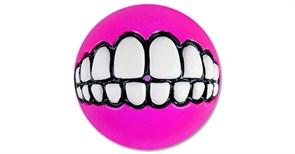 Rogz - Мяч с принтом зубы и отверстием для лакомств, большой (розовый) GRINZ BALL LARGE