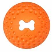 Rogz - Мяч из литой резины с отверстием для лакомств, малый (оранжевый) GUMZ BALL SMALL