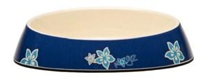 "Rogz - Миска для комфортного кормления ""Fishcake"", ""Синие цветы"", 200 мл MELAMINE CAT BOWL"