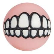 Rogz - Мяч для щенков с принтом зубы и отверстием для лакомств, малый (розовый) PUPZ GRINZ BALL SMALL