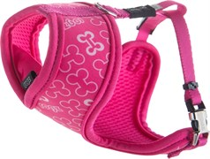 "Rogz - Шлейка-манишка для собак малых пород ""Розовые косточки"" (размер XS (27-34 см), ширина 8 мм) FABRIC HARNESS"