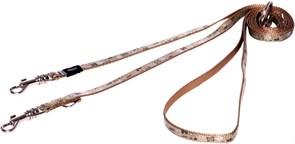 "Rogz - Поводок-перестежка для собак малых пород ""Коричневые косточки"", размер M (ширина 16 мм, длина 1,1-1,4-1,8 м) MULTI PURPOSE LEAD"