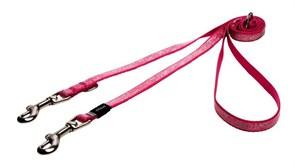 "Rogz - Поводок-перестежка для собак малых пород ""Розовые косточки"", размер M (ширина 16 мм, длина 1,1-1,4-1,8 м) MULTI PURPOSE LEAD"