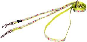 """Rogz - Поводок-перестежка для собак малых пород """"Разноцветные косточки"""", размер M (ширина 16 мм, длина 1,1-1,4-1,8 м) MULTI PURPOSE LEAD"""