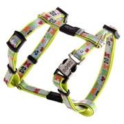 """Rogz - Шлейка для собак малых пород """"Разноцветные косточки"""" (размер M (40-70 см), ширина 16 мм) H-HARNESS"""