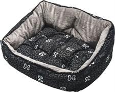 "Rogz - Мягкий лежак с двусторонней подушкой ""Черные косточки"", размер XS (43х30х19см) TRENDY PODZ"