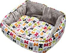 "Rogz - Мягкий лежак с двусторонней подушкой ""Разноцветные косточки"", размер XS (43х30х19см) TRENDY PODZ"