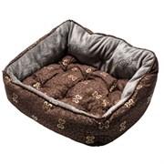 "Rogz - Мягкий лежак с двусторонней подушкой ""Коричневые косточки"", размер M (56х43х29см) TRENDY PODZ"
