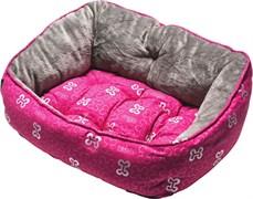 """Rogz - Мягкий лежак с двусторонней подушкой """"Розовые косточки"""", размер M (56х43х29см) TRENDY PODZ"""