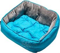 "Rogz - Мягкий лежак с двусторонней подушкой ""Голубой цветок"", размер M (56х43х29см), LUNA PODZ MEDIUM"