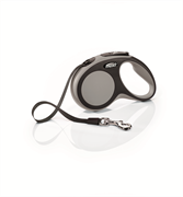Flexi - Рулетка-ремень для собак, размер S - 5 м до 15 кг (серая) New Comfort Tape grey