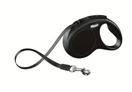 Flexi - Рулетка-ремень для собак, размер S - 5 м до 15 кг (черная) New Classic tape black