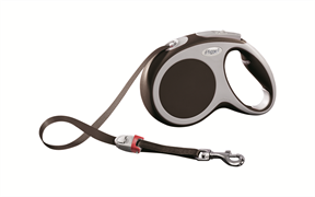 Flexi - Рулетка-ремень для собак, размер M - 5 м до 25 кг (коричневая) Vario tape brown