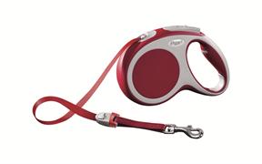 Flexi - Рулетка-ремень для собак, размер M - 5 м до 25 кг (красная) Vario tape red