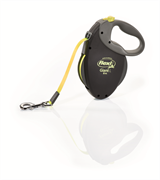 Flexi - Рулетка-ремень для собак, размер L - 8 м до 50 кг (черная+неон) GIANT Neon tape