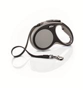 Flexi - Рулетка-ремень для собак, размер M - 5 м до 25 кг (серая) New Comfort Tape grey