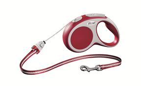 Flexi - Рулетка-трос для собак, размер S - 5 м до 12 кг (красная) Vario cord red