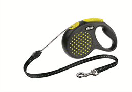 Flexi - Рулетка-трос для собак, размер S - 5 м до 12 кг (желтая) Design Cord yellow