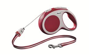 Flexi - Рулетка-трос для собак, размер S - 8 м до 12 кг (красная) Vario cord red