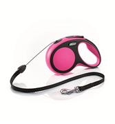 Flexi - Рулетка-трос для собак, размер S - 8 м до 12 кг (розовая) New Comfort Cord pink