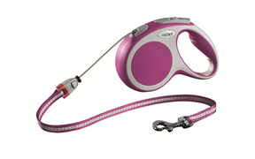 Flexi - Рулетка-трос для собак, размер M - 5 м до 20 кг (розовая) Vario cord pink