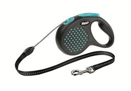 Flexi - Рулетка-трос для собак, размер M - 5 м до 20 кг (голубая) Design Cord blue