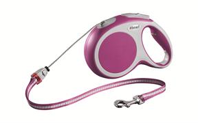 Flexi - Рулетка-трос для собак, размер M - 8 м до 20 кг (розовая) Vario cord pink