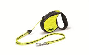 Flexi - Рулетка-трос светоотражающая для собак, размер S (5 м до 12 кг) Neon Reflect cord