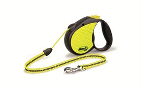 Flexi - Рулетка-трос светоотражающая для собак, размер M (5 м до 20 кг) Neon Reflect cord