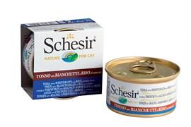 Schesir - Консервы для кошек (тунец в собственном соку со снетками)