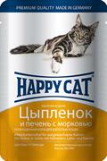 Happy Cat - Паучи для кошек (с цыпленком, печенью и морковью)