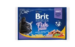 "Brit - Набор паучей для кошек ""Рыбная тарелка"" (4 шт*100 г) Fish Plate"