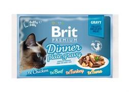 """Brit - Набор паучей для кошек """"Кусочки в соусе"""" (4 шт*85 г) Dinner Plate Gravy"""