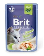 "Brit - Паучи для кошек ""Кусочки из филе форели в желе"" JELLY Trout fillets"