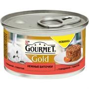 Purina Gourmet - Влажный корм для кошек (Нежные биточки с говядиной и томатами) Gold