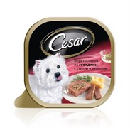 Cesar - Консервы для собак (Бефстроганов с говядиной, сыром и укропом)